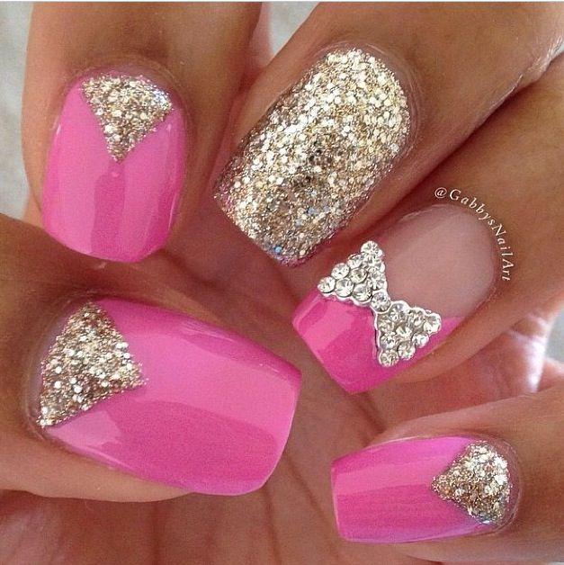 Diamonds Nail Art Design Ideas: Pretty Pink With The Bling Nail & Cute Diamond Bow.