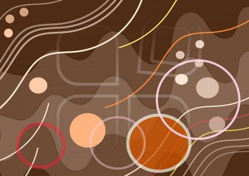 Composition on  brown background,  lines, circles