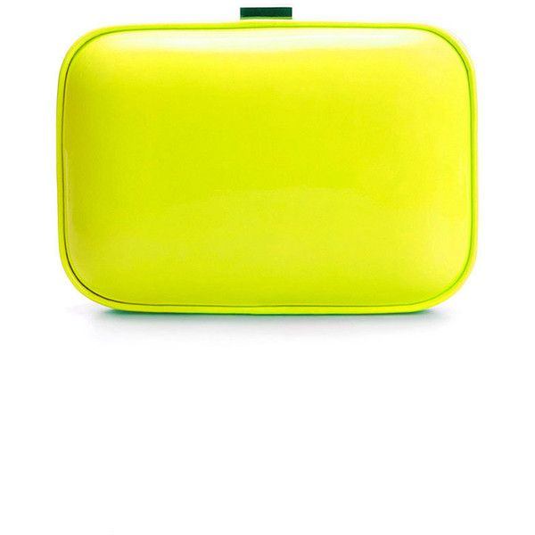 Zara Neon Box Bag (115 RON) ❤ liked on Polyvore featuring bags, handbags, clutches, purses, neon, zara handbags, neon yellow handbag, handbags clutches, yellow purse and neon yellow clutches