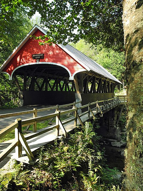 The Flume covered bridge in Franconia Notch State Park, New Hampshire, USA (by KathyCat102).