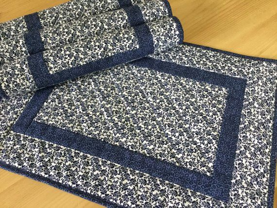 Quilted Navy Blue Placemats Set Of 4