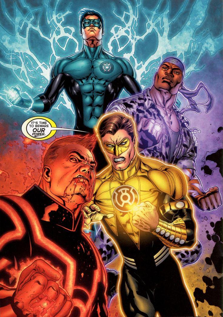 Yellow Lantern Hal Jordan, Red Lantern Guy Gardner, Blue ...
