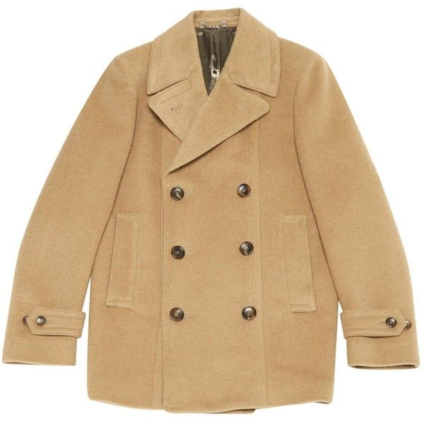 Pre-owned Gucci Wool Peacoat ($1,025) ❤ liked on Polyvore featuring men's fashion, men's clothing, men's outerwear, men's coats, camel, men clothing coats, mens camel wool coat, mens wool outerwear, mens camel coat and gucci mens coat