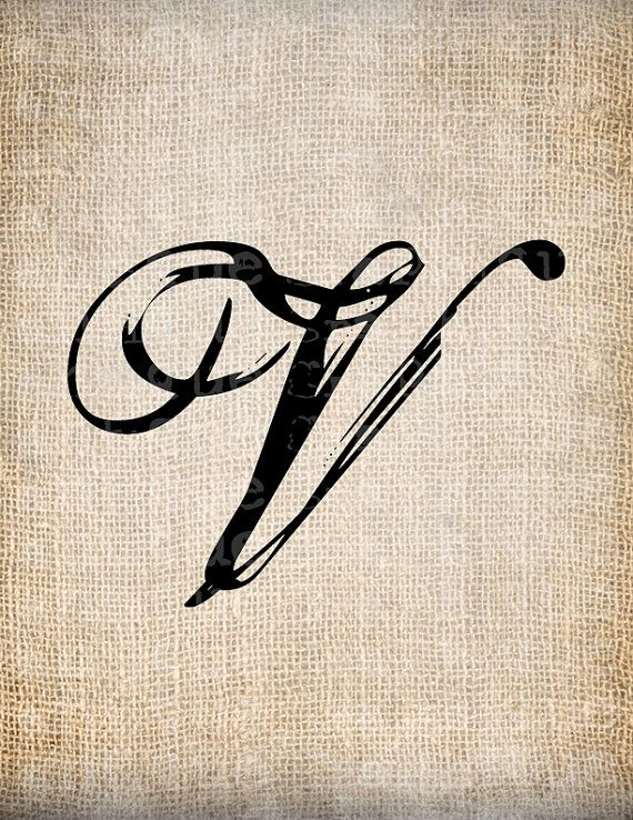 Antique Letter V Script Monogram Digital Download for Dictionary Pages, Papercrafts, Transfer, Pillows, etc.Burlap No 7555