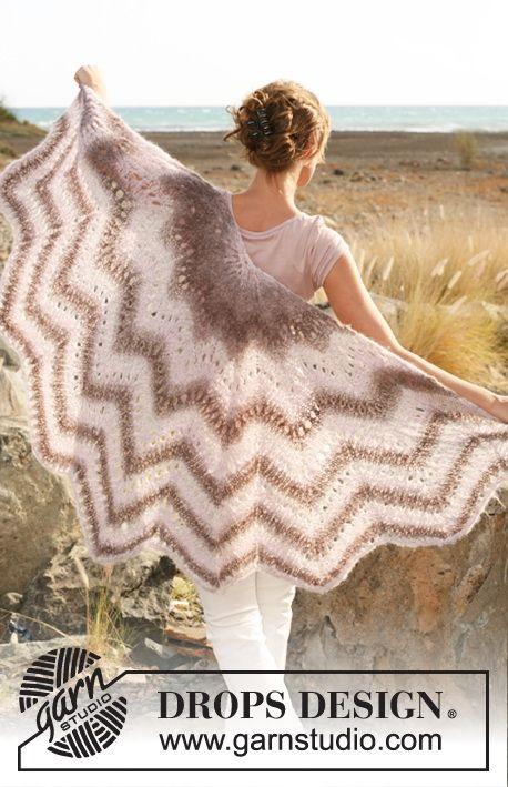 Drops omslagdoek met kant en zigzag patroon