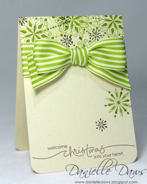 Ooh ... Colours ... Stamps ... Ribbon  ... The whole package: Christmas Cards, Cards Ideas, Snow Swirls, Cards Christmas, Bows Cards, Danielle Dawe, Stampin Up, Simple Christmas, Christmas Trees