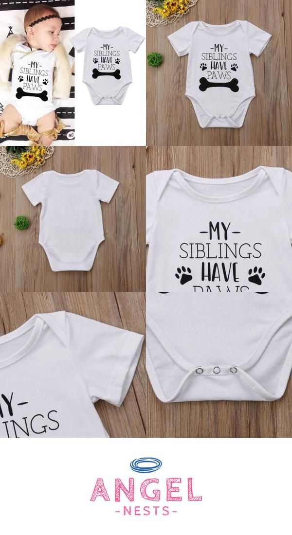 98a91e5c5 Unisex My Siblings Have Paws White Baby Onesie | AngelNests.com ...
