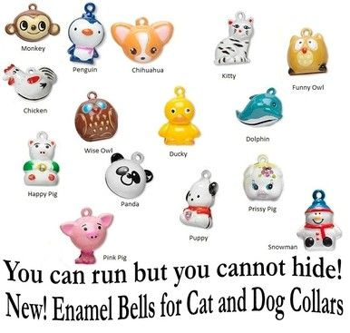 Enamel Pet Head Bells for Cat & Dog Collars