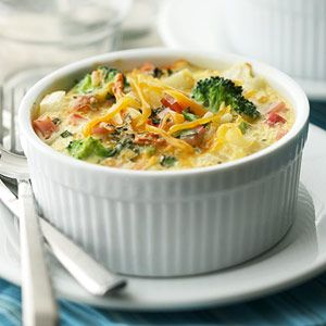 Diced hash brown potatoes, broccoli, and Canadian-style bacon give this egg casserole an extra helping of flavors and textures, making each bite a new experience. Great brunch pick!