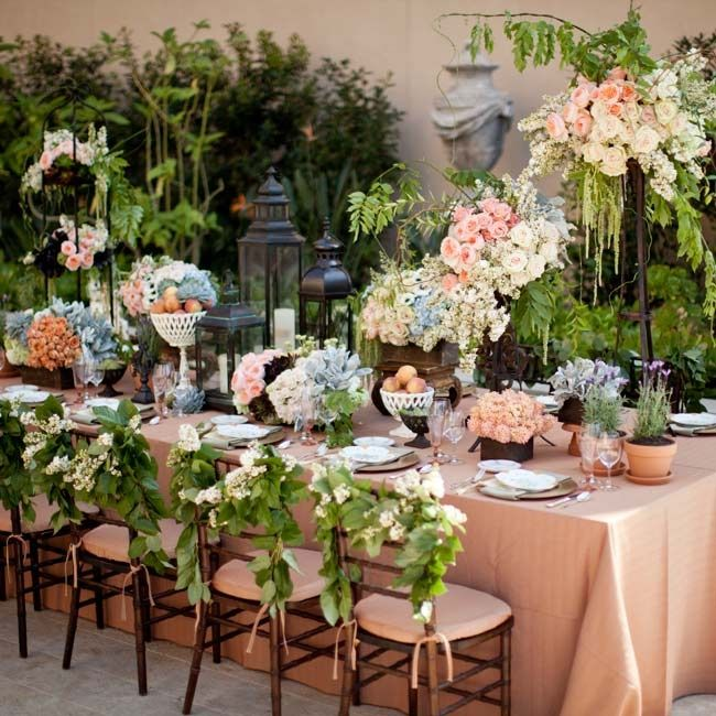 Evening Wedding Reception Decoration Ideas: Garden Inspired Outdoor Reception Space // Photo By
