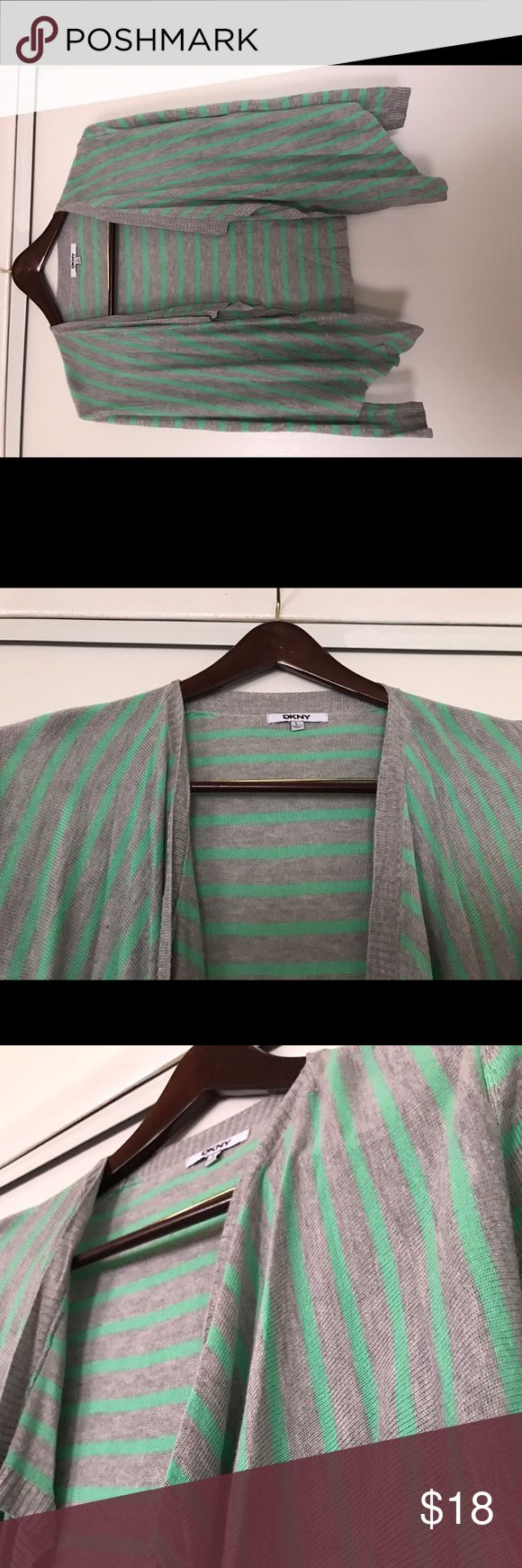 DKNY Open Front Cardigan Gently used, green & grey striped lightweight open front cardigan. DKNY Sweaters Cardigans