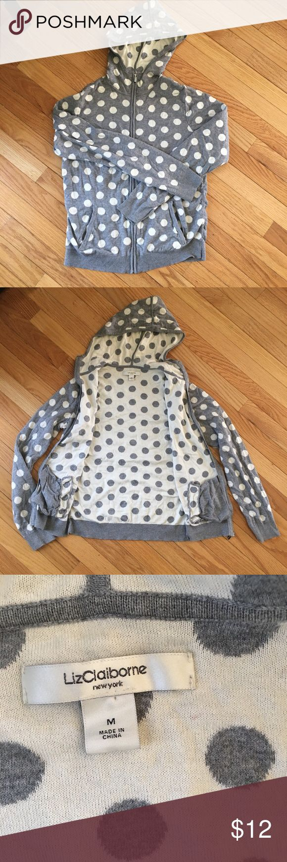 Polka Dot Hoodie Worn once. Polka Dot zip up hoodie by Liz Claiborne. Inside pattern color is opposite of outside. Soft and cozy. Material is similar to cashmere. Thank you for shopping! Liz Claiborne Sweaters