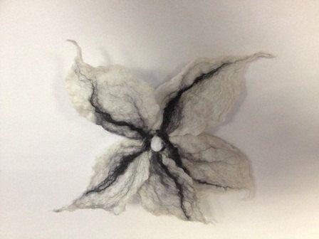 Oyster white  felted handmade  flower by Annacreationsaccess, $8.00