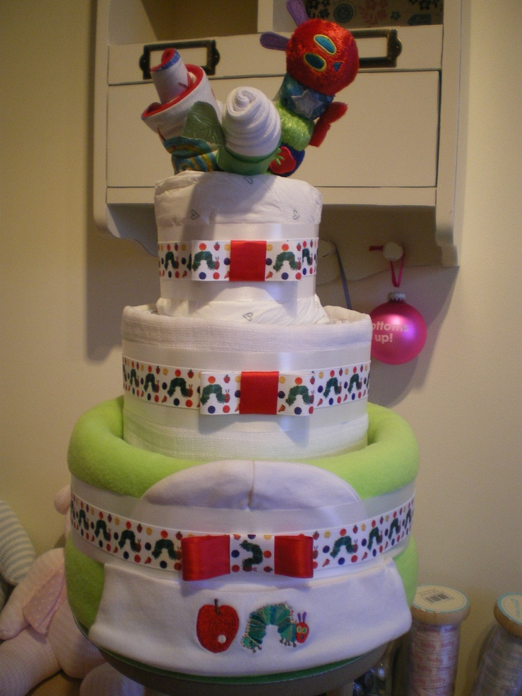 Three tier nappy cake featuring The Very Hungry Caterpillar