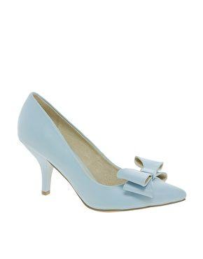 Faith Crobon Mid Heel Bow Blue Court Shoes