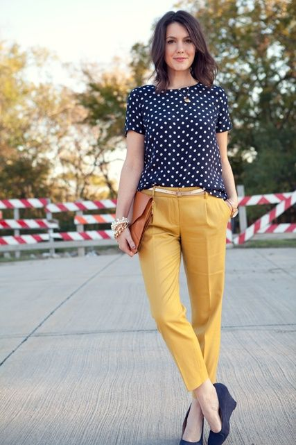 The perfect preppy look for fall. Take a break from your neutral trousers and get adventurous with a pop mustard yellow pair.
