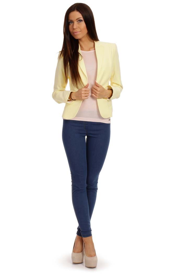The classic blazer in a pastel yellow color