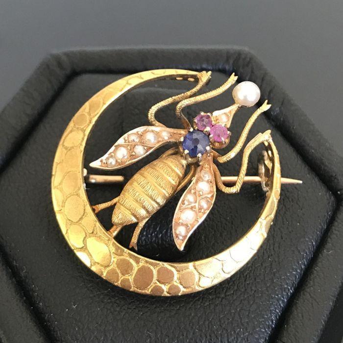 Rare broche XIXème siècle en or jaune 18K représentant une mouche ornée d'un saphir, de rubis et de perles fines