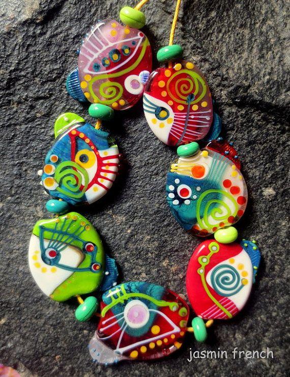 jasmin french icelandic summer lampwork beads set sra