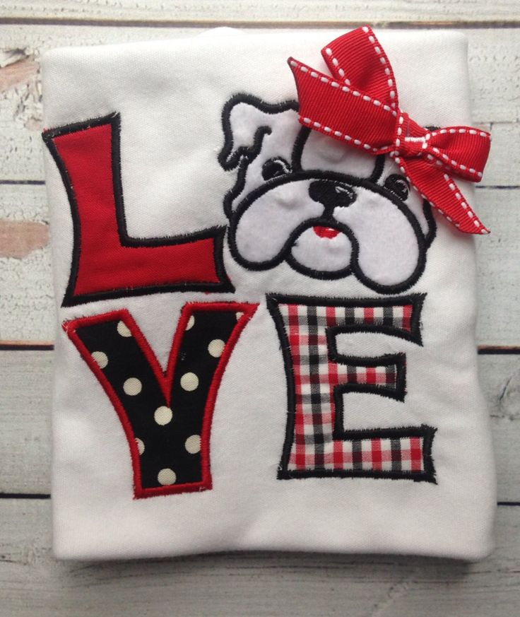 Custom+Georgia+Bulldog+Love+applique+shirt+or+by+littleredwagonamy,+$21.00