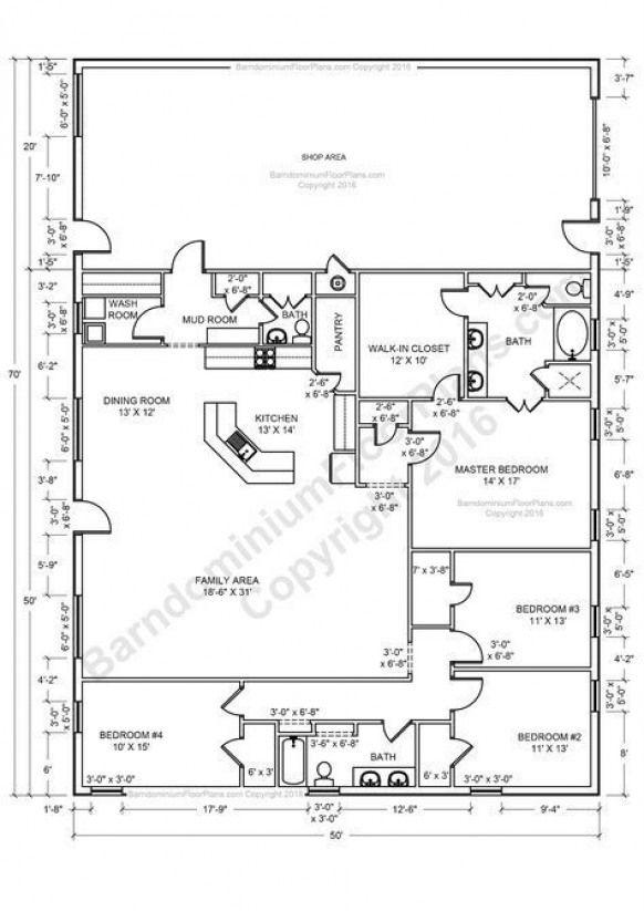 Barndominium Floor Plans 2 Story 4 Bedroom With Shop Barndominium Floor Plans Cost Open Concept Barndominium Floor Plans Floor Plans Shop House Plans