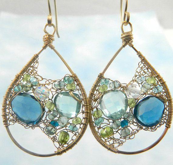 Handmade Golden Hoops Earrings with Precious Stones - Great Design