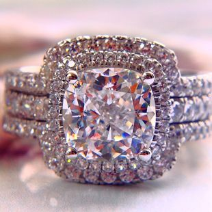 Luxury New & Hot  Bridal Set Wedding Rings Set CPP 3 Carat G-H VVS1  Cushion Princess Cut Best Quality Synthetic Diamond $180.00