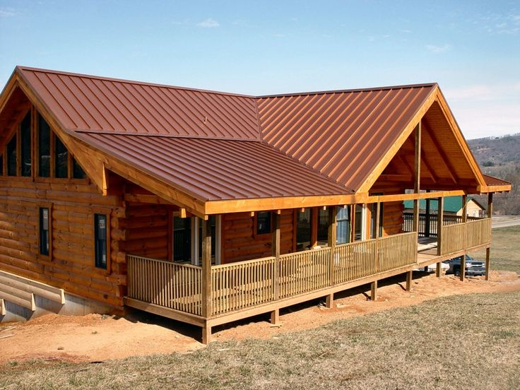 Barnard Home Is A Custom Log Home With Standing Seam Metal Roof.