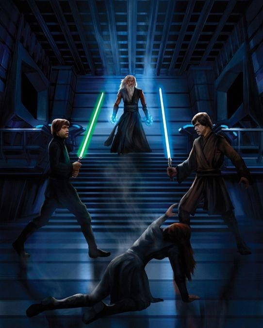 Jorus C'Boath, blue lightsaber is his clone of Luke from the hand cut off at Cloud City, green lightsaber is real Luke, red hair is Mara Jade