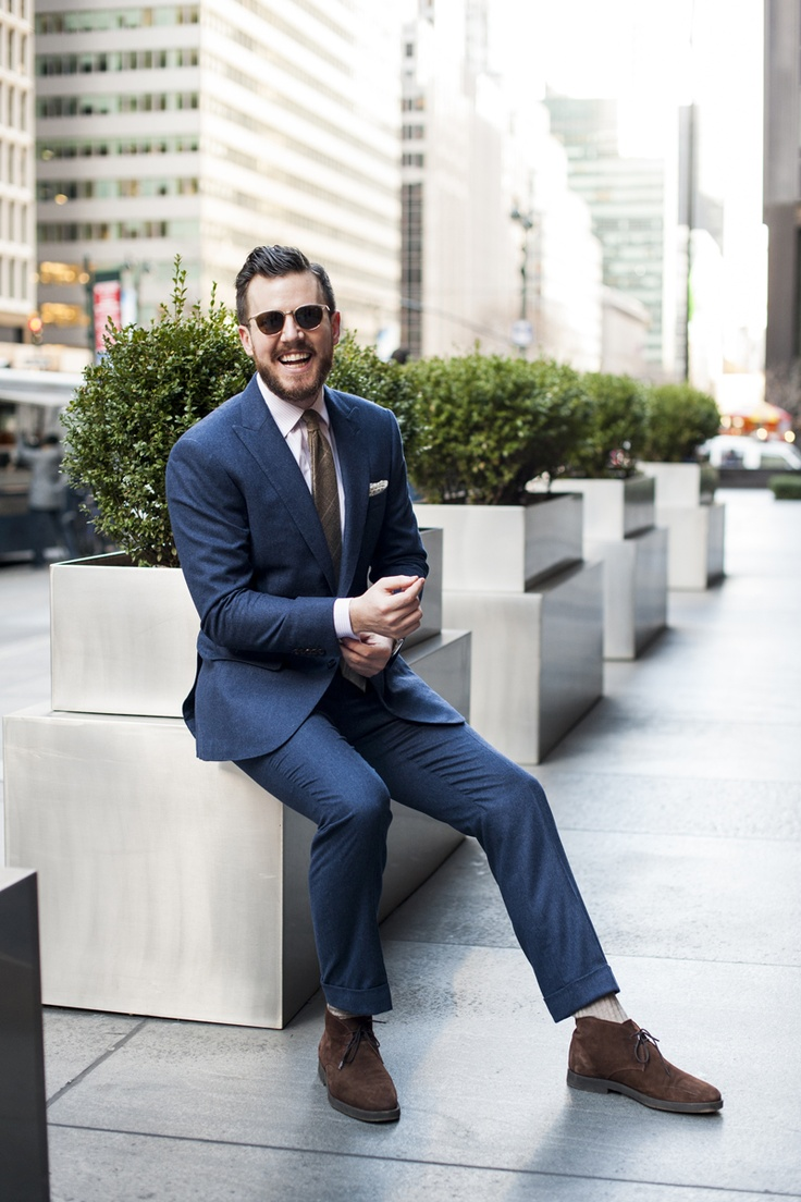 Black dress navy suit - Flannel Suit Sued Chukka