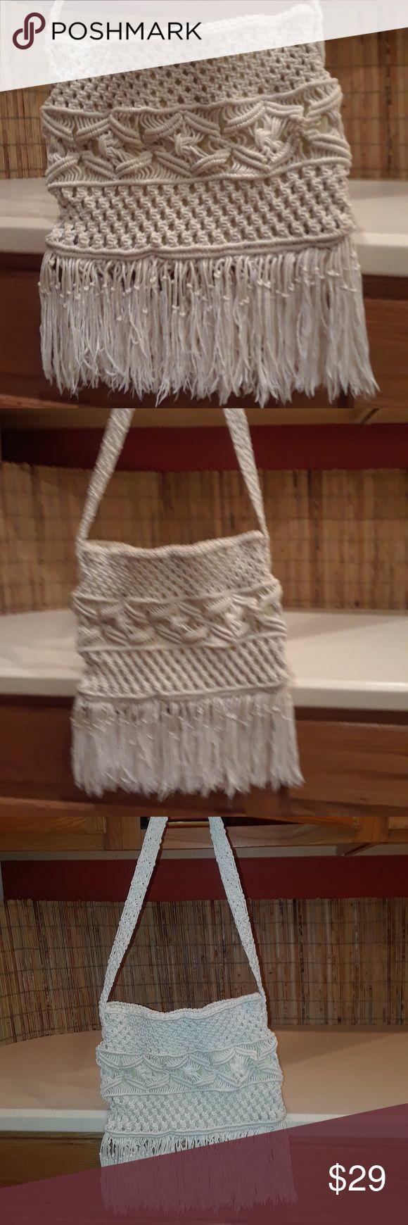 Handmade crochet shoulder bag Thick rope crochet shoulder bag. Off white in color......boho chic!! One of a kind Bags Shoulder Bags