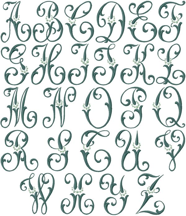 Caroline machine embroidery font monograms linens