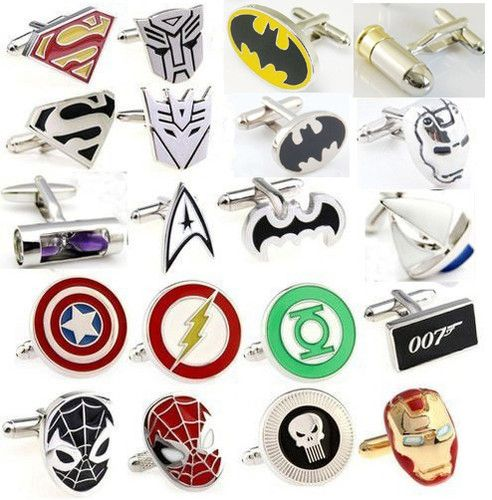 Brandon would definitely want a superhero wedding... groomsmen cufflinks