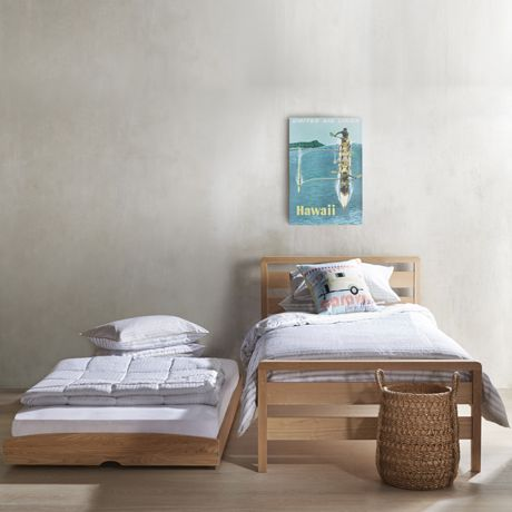 StoraBed King Single & Trundle Bed with Castors in Natural - Katalogue