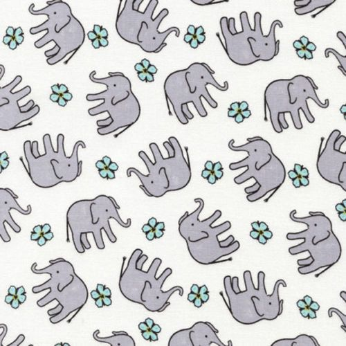 """Nursery Fabric: Baby Elephant Fabrc - Elephants and Floral Toss by Timeless Treasures 100% cotton Fabric by the yard 36""""x43""""  (A210)"""