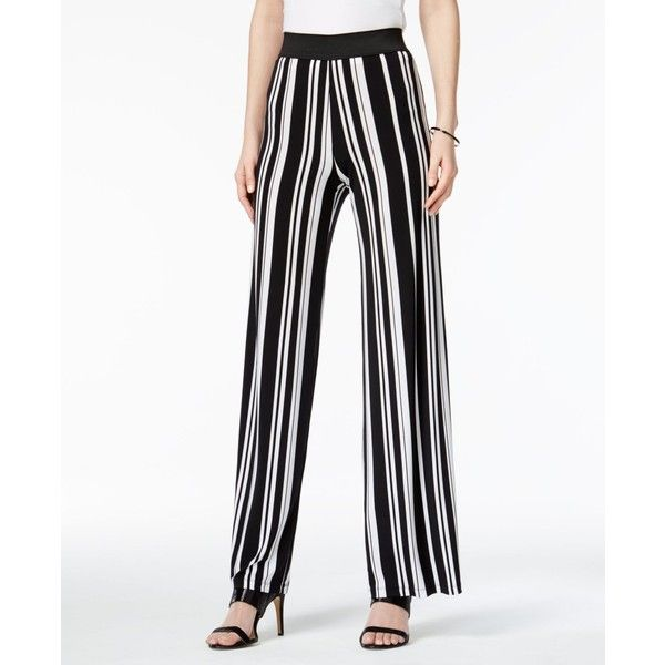 Alfani Printed Palazzo Pants, ($45) ❤ liked on Polyvore featuring pants, bold bars, striped pants, white pull on pants, wide leg palazzo pants, wide leg trousers and pull on pants
