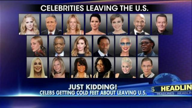 """This is very disappointing. We were looking forward to these liberal loons leaving the United States and would have even gladly pitched in for their one way tickets. Fox Insider Reports Before Donald Trump's stunning election victory, dozens of celebrities – including Chelsea Handler, Whoopi Goldberg and Amy Schumer – said they would leave the country if he won the presidency. Now, they're not so sure… Chelsea Handler, who hosts """"Chelsea"""" on Netflix, tearfully said on her show Thursday that…"""