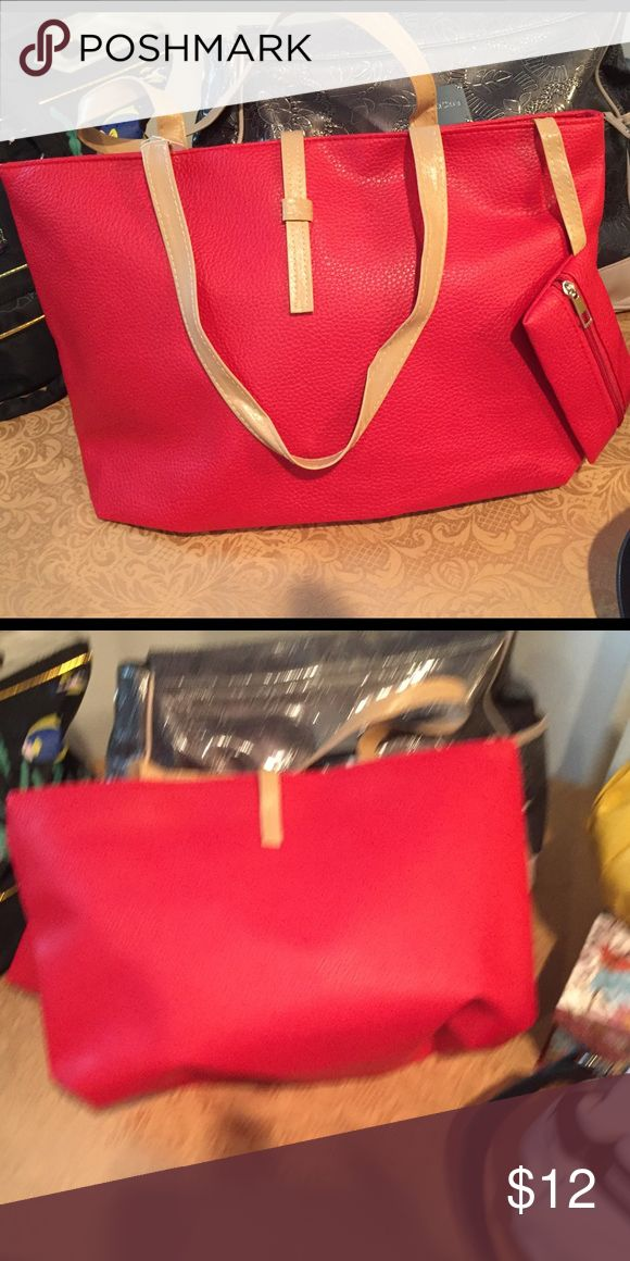 NWOT.  Your Basic Red Tote Bag Lightweight and roomy; separate change purse. Wide open interior to store all your valuables. Bags Totes