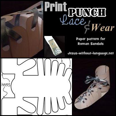 Paper 'Jesus' sandals - free pattern.