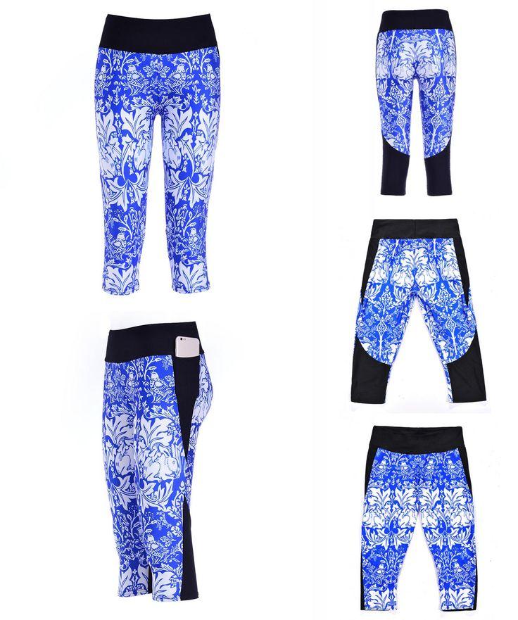 [Visit to Buy] Legging 2016 Yoga Women Gym Capri Pants Sports 7 Points Sweat Cropped Bodybuilding Run Training Trousers Skyscape Galaxy LN7Slgs #Advertisement