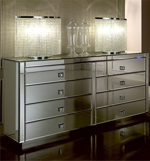 Diva Collection obsession large double chest with 8 drawers and Swarovski crystal handles