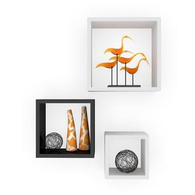 Buy Desi Karigar Wall Mount Shelves Square Shape Set of 3 Wall Shelves: Black