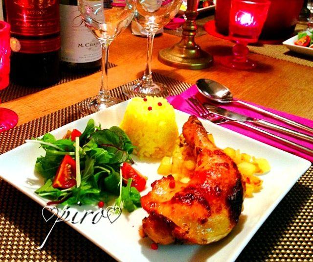 ✨ メリー クリスマス✨ クリスマスディナーのメインディッシュは✨ 鶏もも肉のコンフィです。 サフランライス 赤ワイン 白ワイン みなさまも素敵なクリスマスを✨ - 221件のもぐもぐ - 鶏もも肉のコンフィ confit chicken by 0987hiropon