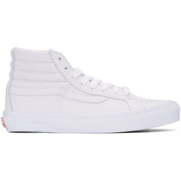 Vans White OG Sk8-Hi LX Sneakers ($115) ❤ liked on Polyvore featuring