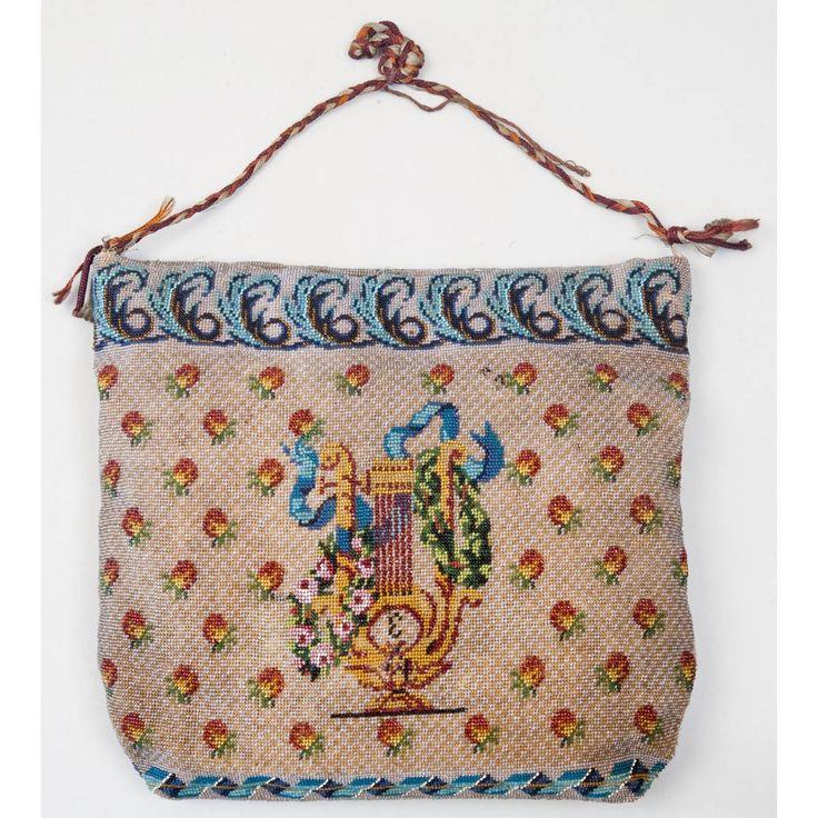 http://auction-ruseasons.ru/index.php?a=2=1=117188  Бисер, шитье, монограмма «Е», изображены атрибуты победы - меч, щит, шлем, с оборотной стороны - лира в цветах. Размер 18х19 см
