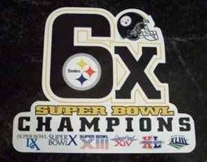 Pittsburgh Steelers 6X Super Bowl Champs NFL Car Magnet (Quantity of 1) [Misc.] by Hall of Fame Memorabilia. $14.99. Pittsburgh Steelers Magnet