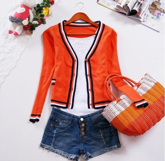 preppy women clothes | New women preppy style cute puff long sleeve candy color knitted coat ...