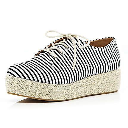 Black stripe espadrille lace up flatforms  £25.00