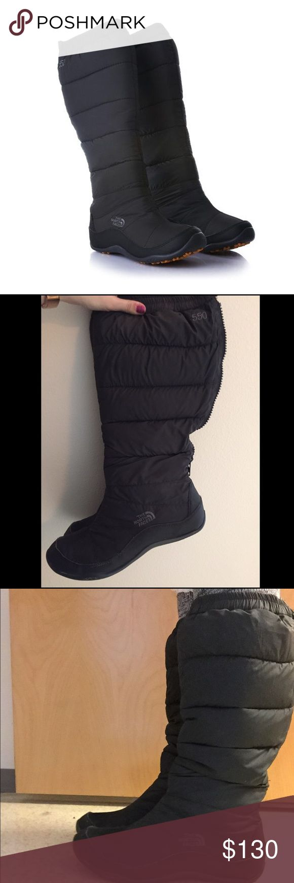 The North Face Nuptse Knee High snow boots Black knee high snow boots from the North Face, purchased at Nordstrom. Worn once or twice and then moved somewhere warmer where I won't be needing them! Still in great condition. They run a bit small, I normally wear wool socks with them and I usually wear a women's size 9. The North Face Shoes Winter & Rain Boots
