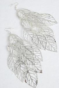 Silver Filigree Leafs Earrings $4
